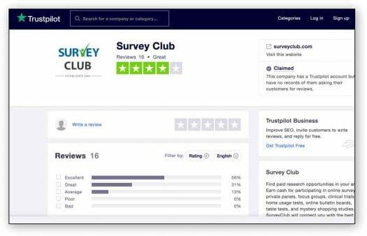 survey club trust pilot
